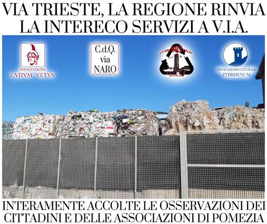 Via Trieste, la Regione Lazio rinvia il progetto dell'impianto a V.I.A.
